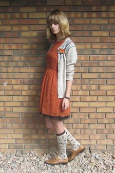 Dress, sweater, shoes. Too old for the socks :-(.