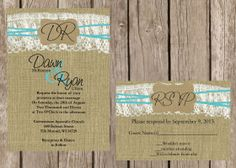 Rustic Wedding Invitation Lace and Burlap by DawnMarieCreations82, $1.45