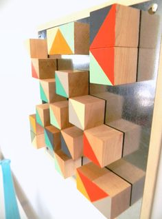 Modern Geometric Art Abstract Wood Blocks Triangle Chevron Turquoise Gold Red. $88.00, via Etsy.