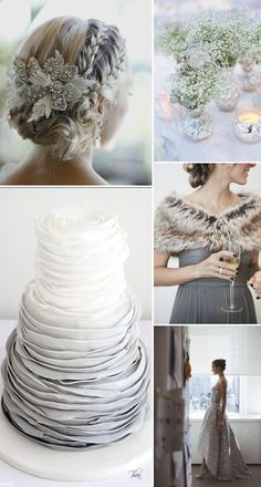 A Guide To Styling A Winter Wedding With Silver Metallic Accents And Faux Fur Details And Lots Of Candles via Rock My Wedding sparklewedding Grey Wedding Theme, Wedding Themes, Wedding Colors, Wedding Styles, Wedding Flowers, Metallic Wedding Theme, Small Winter Wedding, Silver Winter Wedding, Winter Wedding Hair