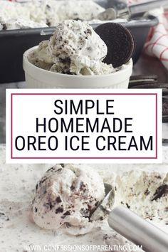 Gelato Ice Cream, Oreo Ice Cream, Ice Cream Cookies, Ice Cream Desserts, Homade Ice Cream Recipes, Easy Homemade Ice Cream, Homemade Oreo Cookies, Oreo Milkshake, Ice Cream At Home