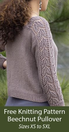 Free Knitting Pattern for Beechnut Pullover - A 10 row repeat Beech Leaf lace panel adorns the sleeves of this stockinette sweater with square neckline and three-quarter sleeves. Sizes XS (S, M, L, DK weight yarn. Designed by Amy Gunderson. Lace Knitting Patterns, Free Knitting, Crochet Cardigan Pattern, Knit Crochet, Aran Weight Yarn, Pullover, Knit Sweaters, Crocheting, Magazines