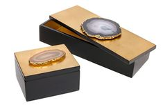 Carina Box Collection - Perfect for enclosing your precious objects, jewelry, or even for keeping your keys or phone safe. Semi-precious agate stones on silver or gold leafed boxes. Casa Atrium, Bliss Home And Design, Necklace Box, Earrings, Diy Box, Agate Stone, Keepsake Boxes, Trinket Boxes, Boyfriend Gifts