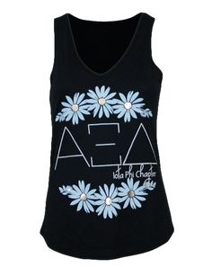 Alpha Xi Delta Daisies Tank by Adam Block Design | Custom Greek Apparel & Sorority Clothes | www.adamblockdesign.com