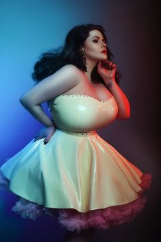 Louise Varns in white latex dress -  V's Anchor Studio