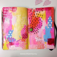 Paint & hearts, all is well in the world, by @ihanna #sketchbook #acrylics #artjournaling