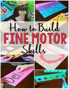Developing Fine Motor Skills - Fun (and practical!) ideas and tips for building fine motor skills. Motor Skills Activities, Gross Motor Skills, Sensory Activities, Preschool Activities, Preschool Learning, Learning Activities, Time Activities, Teaching, Pre Writing