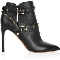 Valentino Rockstud textured-leather ankle boots on shopstyle.com