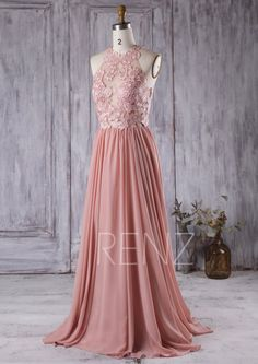 2016 Dusty Rose Bridesmaid Dress Lace Transparent by RenzRags