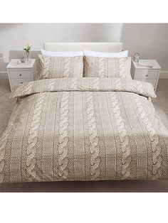 Catherine Lansfield So Soft Cable Knit Duvet Cover and Pillowcase Set   very.co.uk