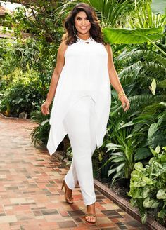 Women S Plus Size Cotton Knit Dresses White Party Attire, All White Party Outfits, All White Outfit, Trendy Plus Size Fashion, Curvy Fashion, Womens Fashion, Outfits Blanco, Queen, Skirt Fashion