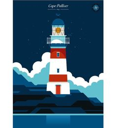 """bolundberg on Instagram: """"We are working on a new print collection, lighthouses from around the world 🌍 Here are 2 of them, Cape Palliser, NZ and Långe Jan, """"Tall…"""" Rivage, New Print, Travel Posters, New Zealand, Around The Worlds, Lighthouses, Movie Posters, Illustrations, Collection"""