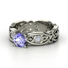 Round Tanzanite 18K White Gold Ring with Diamond | Brilliant Alhambra Solitaire | Gemvara