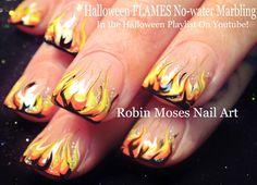 Nail Art   Hot Halloween No Water Marble! FLAMES Nail Design Tutorial  