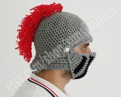 9a80b6c29e4cc4 Crocheted Knight Helmet Hat Crochet Slouch Mens Red Convertible Beanie Hat  Handmade Winter Men Snowboard Ski
