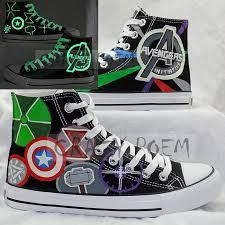 76f1aca5ed30 Popular Marvel Comic The Avengers Hand Paintied Canvas Shoes High Top  Converse…