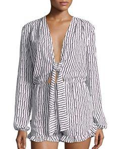 TCV65 Lucy Paris Harlow Tie-Front Short Jumpsuit, Black/White