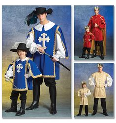 Gotta make these for the boys (ALL the boys) for Halloween - Men's/Children's/Boys' Musketeer and Prince Costumes