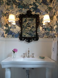 Hazardous Design: Gorgeous powder room design with Chiang Mai Dragon wallpaper in China Blue, Belle Epoque ...