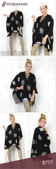 LACE UP DETAILED PONCHO/SWEATER Brand new Boutique item  Get this fabulous poncho/sweater and rock it for many seasons to come! This fabulous poncho sweater features a black knit with floral print a sassy lace-up v-neckline! This piece offers comfort and style!   True to size, modeled in a S/M Material 100%polyester . Sweaters Shrugs & Ponchos
