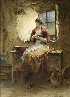 Peeling Apples For A Pie 1886 ~ William Harris Weatherhead ~ (British 1843-1903)