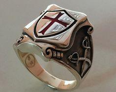 Tempelritter Chevaliers du temple maçonnique de croix en argent 925 bague rouge émail / fait à la main - toutes les tailles!