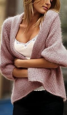 cozy mauve-y pink knit cardigan with sexy camisole for a day at home watching old movies with your man