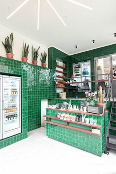 emerald green tile at the cold pressed juicery in amsterdam / sfgirlbybay
