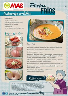 Salmorejo cordobés Gazpacho, Spanish Food, Mediterranean Recipes, Tapas, Food To Make, Nom Nom, Restaurant, Fruit, Cooking