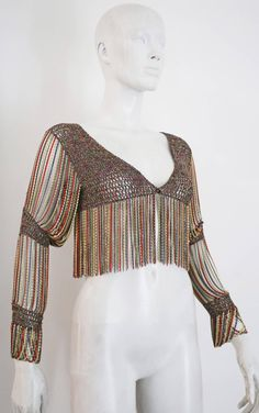 Loris Azzaro knitted cropped cardigan with chain mail sleeves and trim, c. 1970s