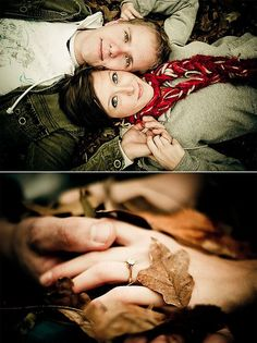 bottom photo of him showing off the ring on her finger is better than putting the ring on a leaf.