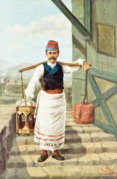 An Ottoman Coffee Seller, 1800's http://www.turkishstylegroundcoffee.com/turkish-coffee-recipe/ #turkishcoffee #turkishcoffeerecipe