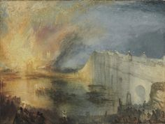 """JMW Turner, """"The Burning of the Houses of Lords and Commons, October 16, 1834"""" (1834–35), oil on canvas, 36 1/4 x 48 1/2 in (92.1 x 123.2 cm) (via philamuseum.org)"""