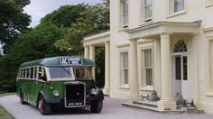 Agatha Christie's summer house; now a hotel; The 1940s vintage bus outside of Greenway, Devon
