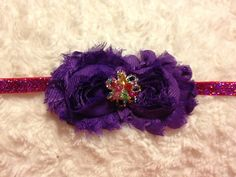 Purple Flowers Shabby Bow Headband on Glitter by HannahHeadbands, $10.00