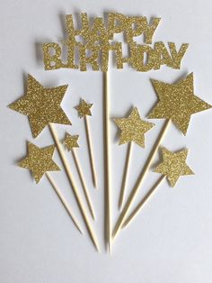 Gold Happy Birthday Cake Toppers, Gold Glitter Birthday & Star Cake Toppers, Birthday Cake Toppers, Assortment Pack by Cardoodle on Etsy https://www.etsy.com/listing/225733475/gold-happy-birthday-cake-toppers-gold