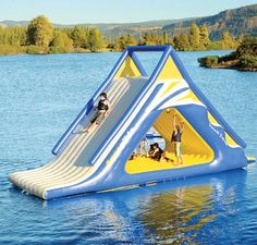 Inflatable water slide pools, rivers and beaches! *-*   Price $9,000 on http://www.hammacher.com/Product/11435