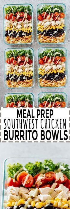 Meal Prep Southwest Chicken Burrito Bowls - Jar Of Lemons - - Meal Prep Chicken Burrito Bowls! Gluten free and great for taking on-the-go! These burrito bowls are super versatile and are packed full of goodness. Burrito Bowl Meal Prep, Chicken Burrito Bowl, Chicken Burritos, Meal Prep Bowls, Burrito Bowls, Fitness Meal Prep, Paleo Meal Prep, Lunch Meal Prep, Food Prep