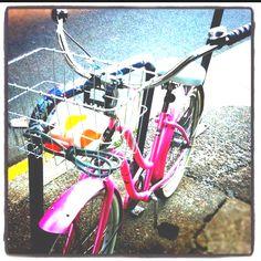 Pink bike.  Sunday morning ride in Portland OR