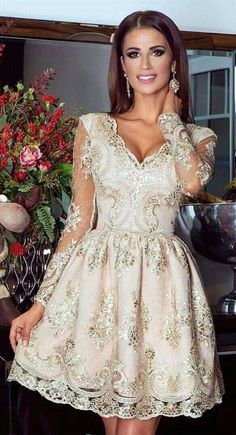 A-Line V-Neck Short Light Champagne Tulle Homecoming Dress with Lace Sleeves