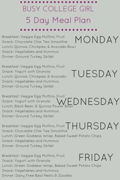 Busy College Girl 5 Day Meal Plan - Lean, Clean, & Brie