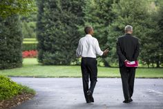 President Barack Obama walks with Chief of Staff Denis McDonough on the South Grounds Drive of the White House, Sept. 3, 2015. (Official White House Photo by Pete Souza)