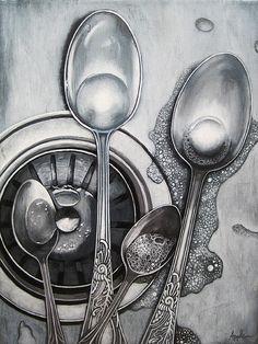 """Spoons & Bubbles"" original fine art by Linda Apple Spoon Drawing, Steel Drawing, Object Drawing, Still Life Sketch, Still Life Drawing, Still Life Art, Pencil Art Drawings, Art Drawings Sketches, Realistic Drawings"