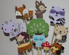 Forest and woodland friends centerpiece by ladybugkarla on Etsy, $30.00