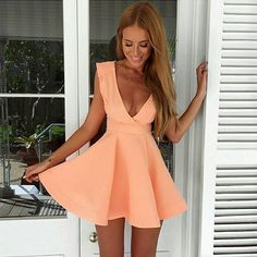 Discount Light Cute Homecoming Dresses Cute A-Line Deep V-Neck Short Peach Satin Homecoming Cocktail Dress Cute Homecoming Dresses, Prom Dresses, Summer Dresses, Graduation Dresses, Sexy Dresses, Dresses Short, Pink Mini Dresses, Pink Dress, Cheap Dresses