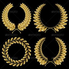 Laurel Wreath  #GraphicRiver Set from gold laurel wreath on the black background Vector illustration, only simply linear and radial gradients used – no blends, gradient mesh used – vector available RGB colors. EPS file is editable in Adobe Illustrator Included files: .ai (CS5), .eps (8 version), high-resolution .jpg (5000×5000 pixels)     Created: 29January13 GraphicsFilesIncluded: JPGImage #VectorEPS #AIIllustrator Layered: Yes MinimumAdobeCSVersion: CS