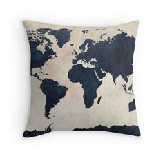 Indigo World Map Throw Pillow; $29.29