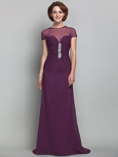 Sheath/Column Jewel Chiffon And Tulle Mother of the Bride Dress (493636) - USD $109.99
