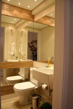 Lavabo espelho + madeira