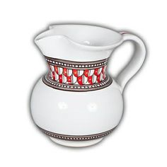 Deruta Geometrico Pitcher Rosso - This classically masculine design fits with any decor that has something powerful to say.  Handmade and hand painted in Deruta, Italy, these intricately detailed dinnerware and serve ware pieces feature bold red with black and grey accents on a white background.  Found at the Italian Pottery Outlet in Santa Barbara, CA